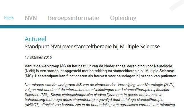Standpunt NVN Over Stamceltherapie