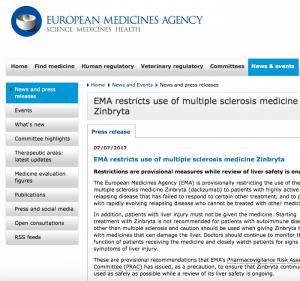 Verklaring EMA over Zinbryta