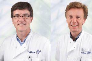 Professor Bernard Uitdehaag (neuroloog) en professor Frederik Barkhof (radioloog) van VUmc MS Centrum Amsterdam