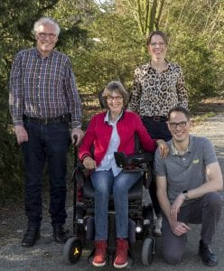 De familie Platel: van links naar rechts Theo, Ineke, Eefke en Bram